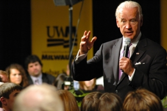 Vice-President Joe Biden addresses the middle class on financial reform at UWM on April 27. Photo by Patti Wenzel